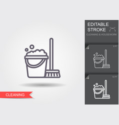 Cleaning bucket with mop line icon with editable vector