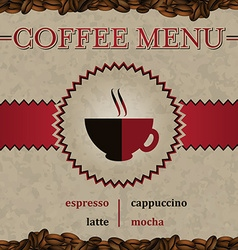 Coffee menu cover design vector image