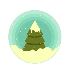 color rounded icon of a christmas tree in vector image