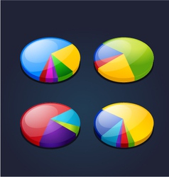 colorful set pie graphic chart vector image