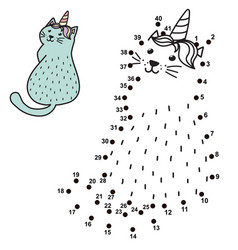 Connect the dots and draw a funny unicorn cat vector
