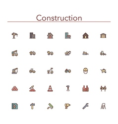 Construction Colored Line Icons vector
