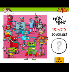 Counting robots educational game for kids vector