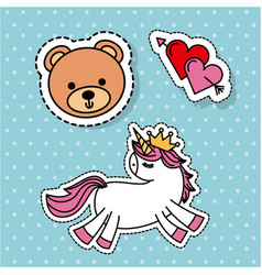 Cute fantasy unicorn bear love heart sticker vector