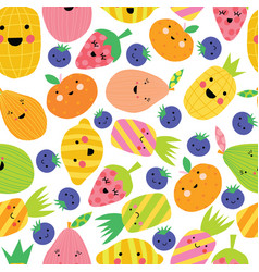 cute fruit seamless pattern repeating vector image