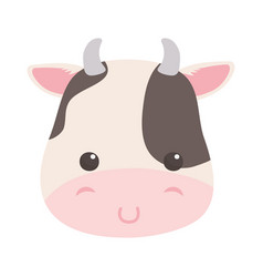 Cute little cow face animal cartoon isolated vector