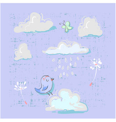 cute set of clouds with bird and buterfly vector image