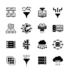 Data filter and data transfer icons vector