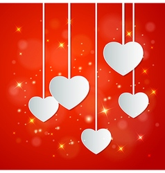 Decorative red background with white paper hearts vector