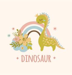 Dino and rainbow hand drawn apparel vector