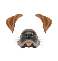 Dog animal face filter template video chat photo vector