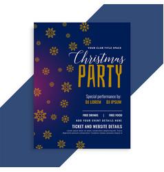 elegant blue christmas snowflakes flyer design vector image
