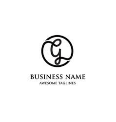 elegant letter g circle logo vector image