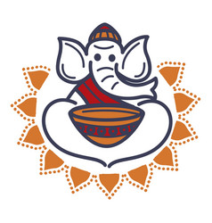 Elephant in monac hat and robe with empty bowl vector