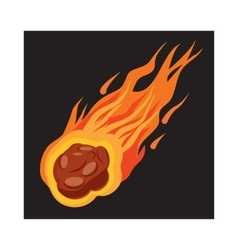 Falling meteorite icon cartoon style vector