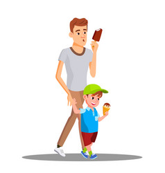 father and son enjoy eating ice cream vector image