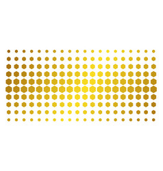 Filled hexagon gold halftone grid vector