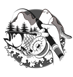Fishing rod in hand and fish vector