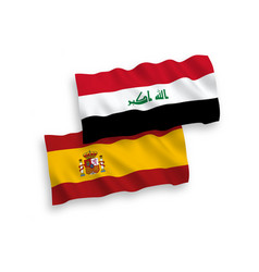Flags iraq and spain on a white background vector