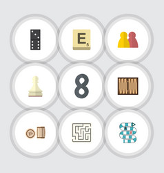 flat icon play set of people dice labyrinth and vector image
