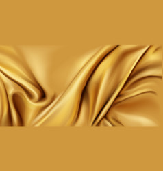 Gold silk folded fabric background luxury textile vector