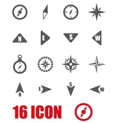Grey compass icon set vector