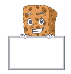 Grinning with board granola bar character cartoon vector