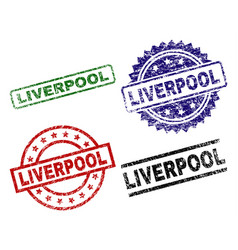 Grunge textured liverpool seal stamps vector