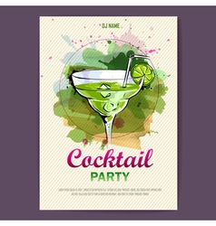 Hand drawn artistic cocktail disco poster vector image vector image