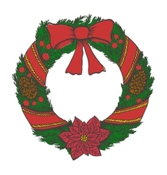 Hand drawn doodle christmas wreath Color objects vector image