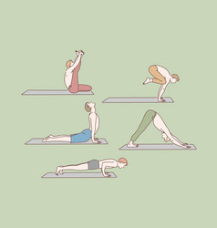 healthcare yoga exercises set concept vector image