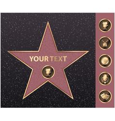 Hollywood golden star celebrity fame vector