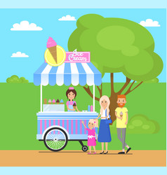 ice cream stand in green park vector image