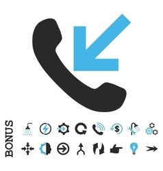 Incoming Call Flat Icon With Bonus vector image