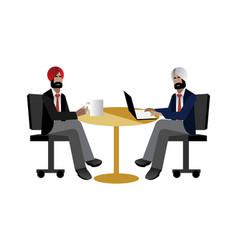 Indian businessmen coffee meeting in office vector