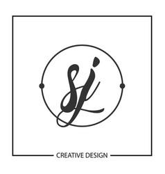 Initial letter sj logo template design vector