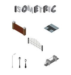 isometric architecture set of barricade street vector image
