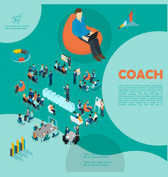 isometric personnel business coaching template vector image