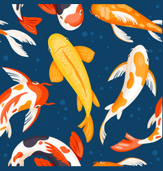 koi carps in blue water seamless pattern of vector image