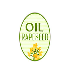 label for bottle of vegetable oil in oval shape vector image vector image