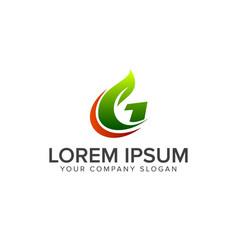 letter g leaf logo natural logos concept design vector image