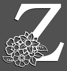 Letter silhouette with flowers letter z vector
