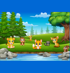 little animals are enjoying nature by the river vector image