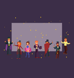 magicians in theater or circus cartoon character vector image