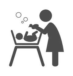 Mother bathes the baby pictograph flat icon vector