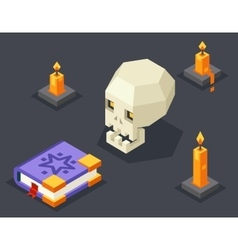 Night Wisdom Magic Icon Skull Spellbook Candles vector
