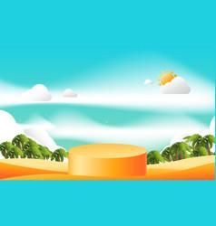 orange product display mockup 3d podium with vector image