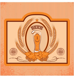 oval label with a glass of beer vector image