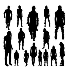 People fashionable style silhouettes vector
