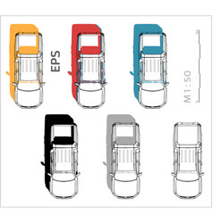 Pickup cuv car icons set for architectural vector